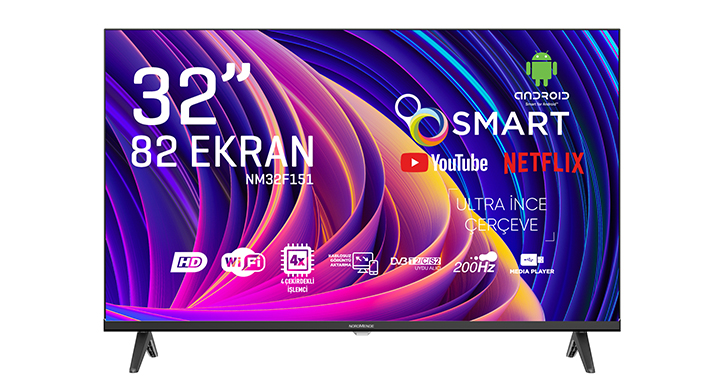 NORDMENDE NM32F151 32'' FRAMELESS HD READY ANDROİD SMART LED