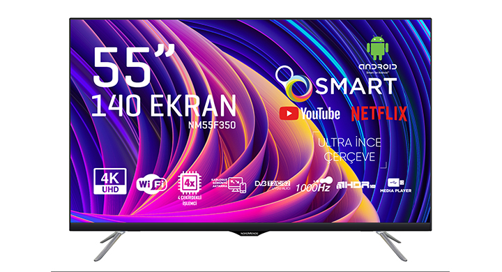 NORDMENDE NM55F350 55' FRAMELESS ULTRA HD ANDROİD SMART LED