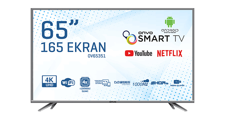 ONVO OV65351 65'' ULTRA HD ANDROİD SMART LED