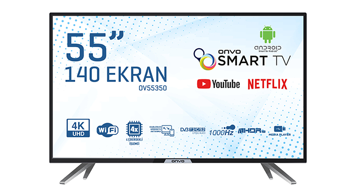 ONVO OV55350 55'' ULTRA HD ANDROİD SMART LED