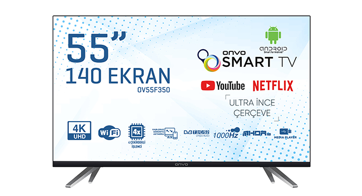 ONVO OV55F350 55' FRAMELESS ULTRA HD ANDROİD SMART LED