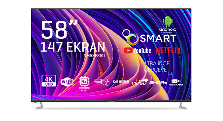 NORDMENDE NM58F350 58' FRAMELESS ULTRA HD ANDROID SMART LED