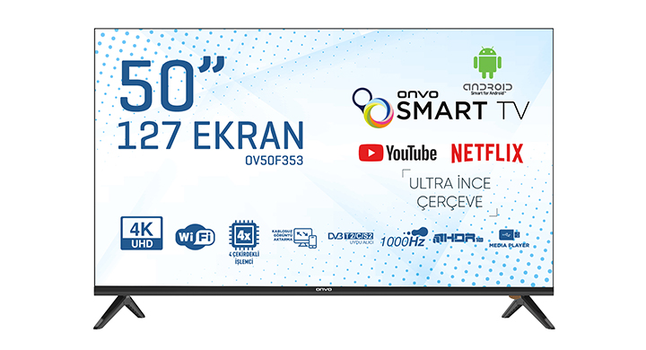 ONVO OV50F353 50'' FRAMELESS ULTRA HD ANDROİD SMART LED