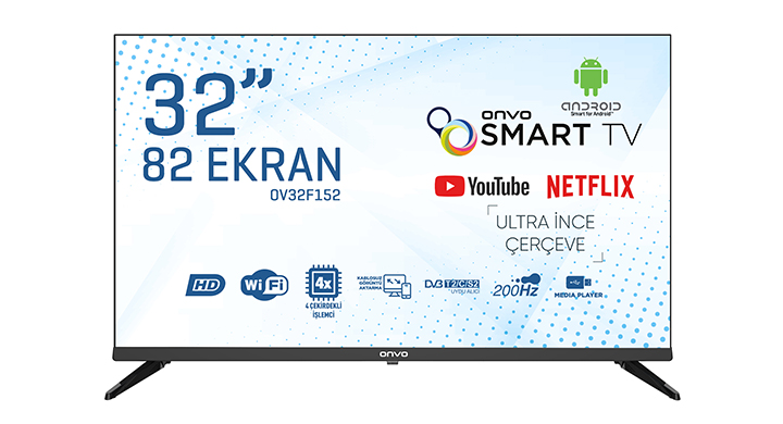 ONVO OV32F152 32'' FRAMELESS HD READY ANDROİD SMART LED