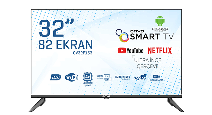 ONVO OV32F153 32'' FRAMELESS HD READY ANDROİD SMART LED